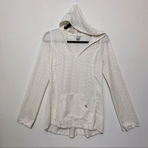 Prana White Hooded Activewear Long Sleeve Top
